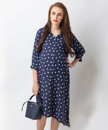 Blush 9 Animal Printed Maternity and Nursing Shirt Dress - Navy Blue