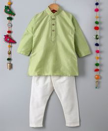 Ethnik's Neu-Ron Full Sleeves Kurta Pajama Set - Light Green White