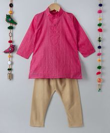 Ethnik's Neu-Ron Full Sleeves Kurta Pajama Set - Fuchsia Golden