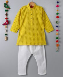 Ethnik's Neu-Ron Full Sleeves Kurta Pajama Set - Yellow White