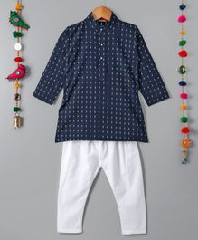 Ethnik's Neu-Ron Full Sleeves Kurta Pajama Set - Navy White
