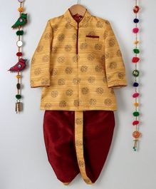 Ethnik's Neu Ron Full Sleeves Kurta & Dhoti Set - Golden Maroon