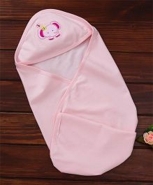 Simply Hooded Wrapper Elephant Embroidery - Pink