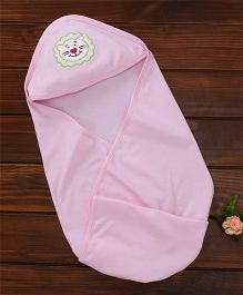 Simply Hooded Wrapper Lion Embroidery - Pink