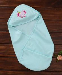 Simply Hooded Wrapper Elephant Embroidery - Sea Green