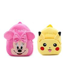 Frantic Velvet Nursery Bag Minnie & Pikachu Pink Yellow Pack Of 2 - Height 14 inches each