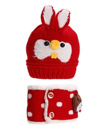 Flaunt Chic Rabbit Woolen Cap With Scarf - Red