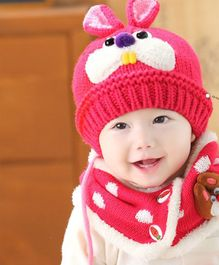 Flaunt Chic Rabbit Woolen Cap With Scarf - Rose