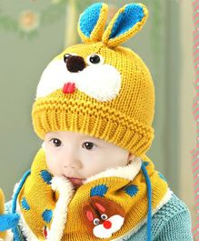 Flaunt Chic Rabbit Woolen Cap With Scarf - Yellow