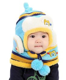Flaunt Chic Winter Woolen Cap With Scarf - Blue