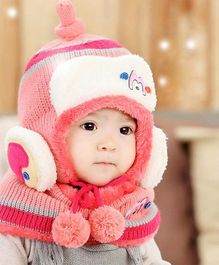 Flaunt Chic Winter Woolen Cap With Scarf - Pink