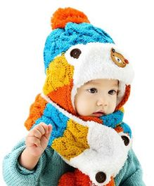 Flaunt Chic Winter Woolen Plush Cap With Scarf - Blue