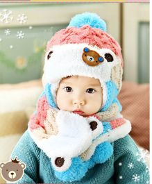 Flaunt Chic Winter Woolen Plush Cap With Scarf - Pink