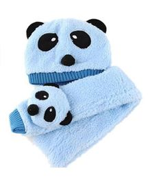 Flaunt Chic Winter Woolen Plush Panda Cap With Scarf - Blue