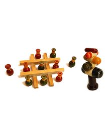 Aatike Wooden Tic Tac Toe & Tree Stacker - Beige
