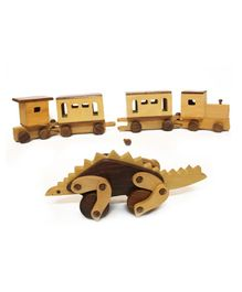Aatike Wooden Train & Stegosaurus - Brown