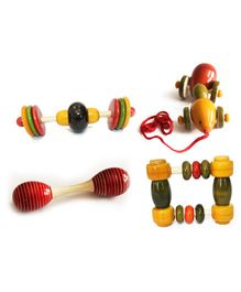 Aatike Wooden Rectangle Rattle Dumbble Jingle Stick & Ant - Multi Colour