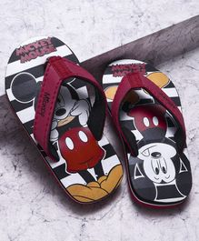 Mickey Mouse And Friends Flip Flops With Back Strap - Red Black