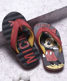 Disney Mickey Mouse And Friends Flip Flops With Back Strap - Grey Black
