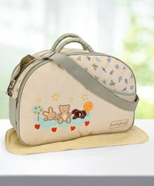 Babyhug Diaper Bag With Changing Mat Rabbit & Bear Print - Cream