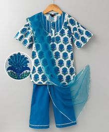 Pspeaches Printed Kurta With Palazzo - Blue