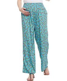 Oxolloxo Maternity Wear Full Length Pants Floral Print - Sea Green
