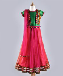 Twisha Embroidered Jacket Look Blouse With Designer Lehenga & Dupatta - Green & Pink
