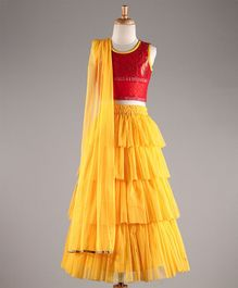 Twisha Floral Brocade Blouse With Designer Tiered Net Lehenga - Red & Yellow