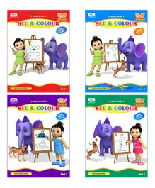 See & Colour Book Pack of 4 - English