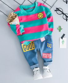 Dells World Smiley Applique Full Sleeve Tee & Full Length Bottom Set - Dark Pink