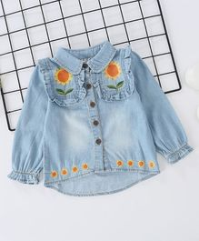 Pre Order - Awabox Long Sleeves Collared Top With Flower Design - Light Blue