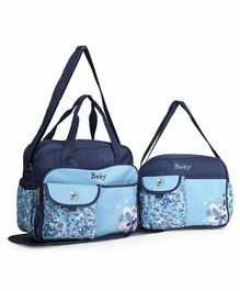 Diaper Bag Set With Changing Mat Flower Print - Blue