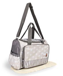 Diaper Bag With Changing Mat Dotted Print - Grey