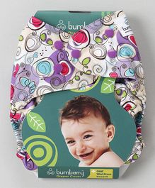 Bumberry Diaper Cover Violet Print With 1 Free Wet Insert