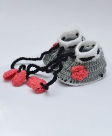 Love Crochet Art Baby Booties - Grey