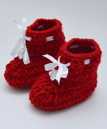 Love Crochet Art Flower Applique Booties - Red