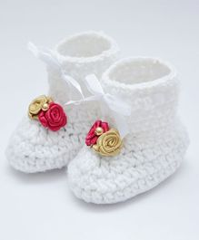 Love Crochet Art Booties With Flowers Applique - Pink & Golden