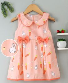 Doreme Peter Pan Collar Printed Frock Bow Applique - Peach