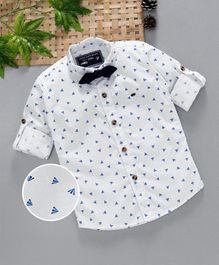Jash Kids Full Sleeves Printed Shirt With Bow Floral Print - Blue White