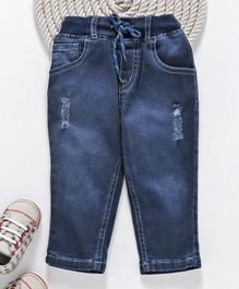 GJ Baby Full Length Jogger Jeans Ripped Pattern - Dark Blue