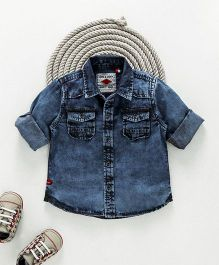 Gini & Jony Full Sleeves Stone Washed Denim Shirt - Blue