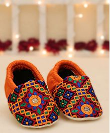 D'Chica Embroidered Slip-On Booties - Orange