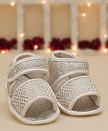 D'Chica Blingy Sandal Style Booties - White