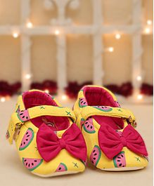D'Chica Watermelon Print Booties With Bow - Yellow