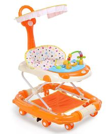 1st Step Walker Cum Rocker With Canopy - Orange