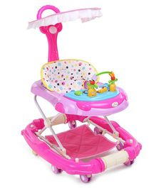 1st Step Walker Cum Rocker With Canopy - Pink & White