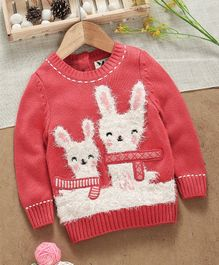 Yellow Apple Full Sleeves Sweater Bunny Design - Peach