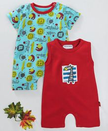 marshmallows Rompers Animal Print Set of 2 - Blue Red