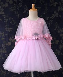 Bluebell Half Sleeves Frock With Cape Pearl Applique - Light Pink