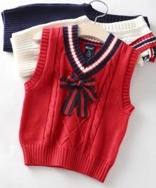 Aww Hunnie Sleeveless Sweater With Bow - Red
